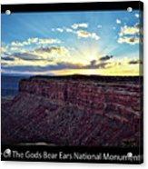 Sunset Valley Of The Gods Utah 03 Text Black Acrylic Print