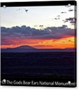 Sunset Valley Of The Gods Utah 05 Text Black Acrylic Print
