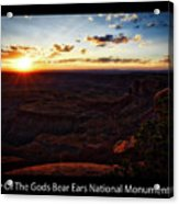 Sunset Valley Of The Gods Utah 11 Text Black Acrylic Print