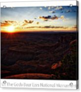Sunset Valley Of The Gods Utah 11 Text Acrylic Print