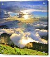 Sunset With Clouds Acrylic Print by Photo by Vincent Ting