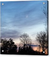 Sunset With Crescent Moon Acrylic Print