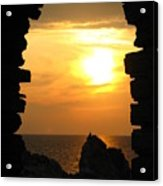 Sunset With Stone Frame Acrylic Print