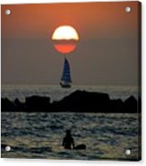 Sunset With Yacht And Surfer Acrylic Print