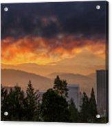 Sunsrise Over City Of Portland And Mount Hood Acrylic Print