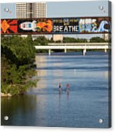 Sup Stand Up Paddle Board Couple Row Under The Focus One Point And Breathe Acrylic Print