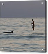 Sup With Dolphin Acrylic Print