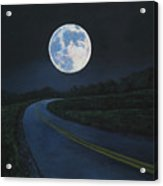 Super Moon At The End Of The Road Acrylic Print