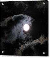 Super Moon Held In The Arc Of Clouds Acrylic Print