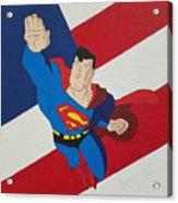 Superman And The Flag Acrylic Print