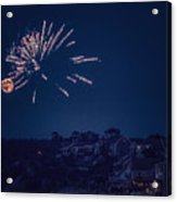 Supermoon And Fireworks  Acrylic Print