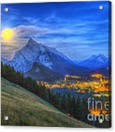 Supermoon Rising Over Mount Rundle Acrylic Print