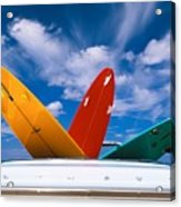 Surboards In A Plymouth Acrylic Print by Dana Edmunds - Printscapes