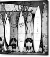 Surf Board Fence Maui Hawaii Square Format Acrylic Print