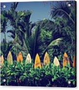Surf Board Fence Maui Hawaii Vintage Acrylic Print