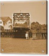 Surf City Vintage Swing Bridge In Sepia 1 Acrylic Print