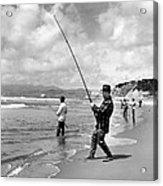 Surf Fishing At Ocean Beach Acrylic Print