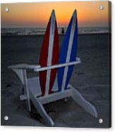 Surfboard Chair Sunset Acrylic Print