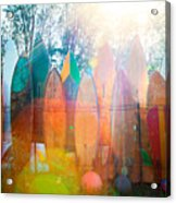 Surfboards Sun Flare Acrylic Print by Monica and Michael Sweet
