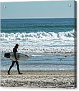 Surfer And His Board Acrylic Print