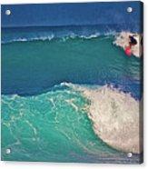 Surfer At Aneaho'omalu Bay Acrylic Print by Bette Phelan