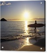 Surfer At Sunrise Acrylic Print by Ali ONeal - Printscapes