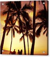 Surfer Couple Acrylic Print by Dana Edmunds - Printscapes