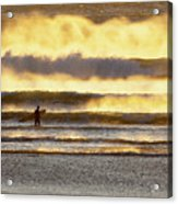 Surfer Faces Wind And Waves, Morro Bay, Ca Acrylic Print