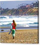 Surfer Girl At Seaside, Ca Acrylic Print