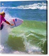 Surfer Girl Taking Flight Acrylic Print