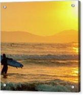 Surfer In The Golden Ocean Acrylic Print