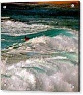 Surfer On Surf, Sunset Beach Acrylic Print