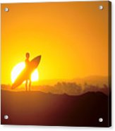 Surfer Silhouetted At Sun Acrylic Print by Erik Aeder - Printscapes