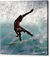 Surfer Slashing The Blue Waves At Dumps Maui Hawaii Acrylic Print by Pierre Leclerc Photography