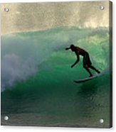 Surfer Surfing Blue Waves At Dumps Maui Hawaii Acrylic Print by Pierre Leclerc Photography