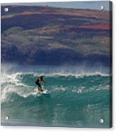 Surfer Surfing The Blue Waves At Dumps Maui Hawaii Acrylic Print