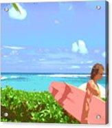 Surfer Walking By Acrylic Print
