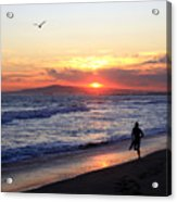 Surfers At Sunset Acrylic Print