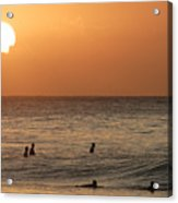 Surfers At Sunset Acrylic Print