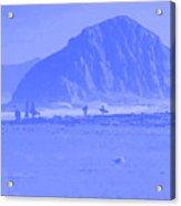 Surfers On Morro Rock Beach In Blue Acrylic Print