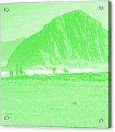 Surfers On Morro Rock Beach In Green Acrylic Print