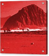 Surfers On Morro Rock Beach In Red Acrylic Print