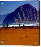 Surfers On Morro Rock Beach Acrylic Print
