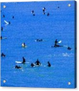 Surfers Waiting And Waiting Acrylic Print