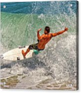 Surfing Action  Acrylic Print