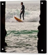 Surfing By The Pier Acrylic Print