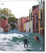 Surfing Quebrada Acrylic Print
