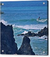 Surfing The Rugged Coastline Acrylic Print