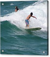 Surfing The White Wave At Huntington Beach Acrylic Print