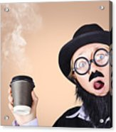 Surprised Business Person High On Coffee Acrylic Print